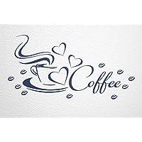 Schon WANDfee Wandtattoo Coffee Kaffeetasse Herz Und Bohnen AC0410016 Größe 57 X  27 Cm Farbe Dunkelblau