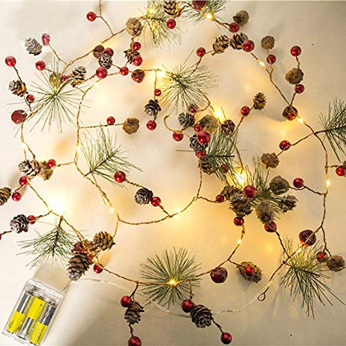 Weihnachtsbeleuchtung LED Kupfer Lichter Pine Cone LED Lichterketten Für Weihnachtsbaum Dekoration Party Indoor Outdoor Room Garten Wand Hochzeit Weihnachtsdekoration, 2 Mt - Kupfer-outdoor Wand Licht