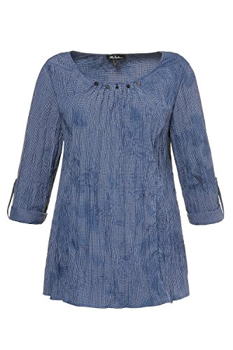 Ulla Popken Femme Grandes Tailles Tunique Froissée 714969 Bleu Marine