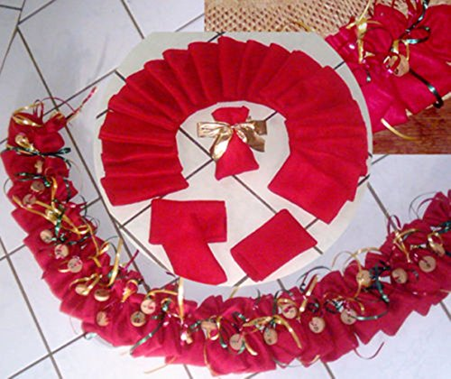 SSITG Calendrier de l'Avent - 24 Sachet Plastique Rouge 8 x 13 cm - Pochette en tissu de Noël calendrier