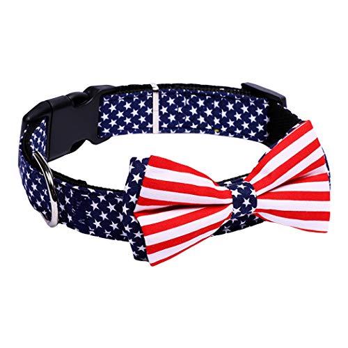 Legendog Haustierhalsband Nette amerikanische Flagge Einstellbare Haustier Bowtie Kragen Hundehalsband Katze Kragen (Multicolor Amerikanische Flagge)
