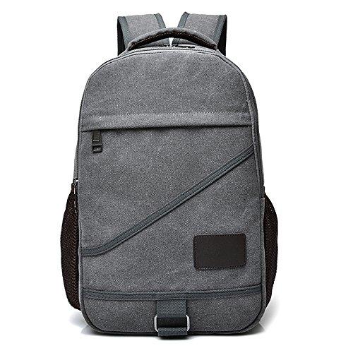 Rucksack Bag New-handtaschen (OneMoreT Rucksack für Damen und Herren, Segeltuch, für Jugendliche, Jungen, Mädchen, Reisen, Laptop, Rucksack, Mochila grau)