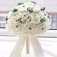 MKYYLV Ivory Wedding Flower Bouquet with 30 Hand Made Diamond Roses for Decoration Supplies,29 * 25 * 25cm