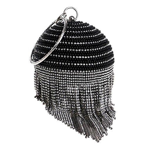 damen kristalle kugelform quasten strasssteine perle abendtaschen hochzeit party bankett handtasche . 12.5 x 36 x 9 cm black