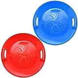 COM-FOUR® 2x Super Pistenrutscher mit breitem Rand und Griffmulden für mehr Sicherheit in blau und rot (02 Stück - Speed blau + rot)