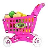 FEIDAjdzf Kinder-Spielzeug für 1 2 3 4 5 6, Obst Gemüse Lebensmittel Einkaufstrolley Wiederverwendbare Rollenspiel Spielzeug für Kinder Kleinkinder Jungen Mädchen Antik Rose
