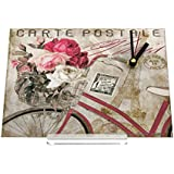 Reloj de escritorio Retro Flores de bicicletas nostalgia Decoración Retro