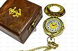 sailor' S Art orologio da tasca in ottone lucido Polish double face con Shesham scatola di legno, regali di bussola, vintage antico arredamento del prodotto, regalo ideale