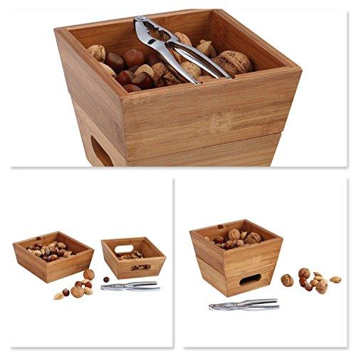 Hochwertiges Nussknacker-Set Holz Nuss-Schale Doppel-Holzschale 2 Nussschalen (Edelstahl Nuss-Knacker, Bambusschale Stapelbar, Nussknacker-Ablage, Nuss-Set, Schale für Nüsse)