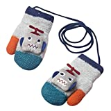 Longra Gants Enfants gants chauds d'hiver Winter Lovely Bébé Fille Garçon moufles garder au chaud Mitaines Robot Modèle Gants de bébé hiver chaude Full Fingers Moufles Bébé (Gris, 1-4 ans)
