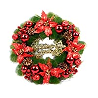 Baywell Christmas Wreath Decoration, Plastic Decorative Pendant Artificial Wreath for Indoors and Outdoors