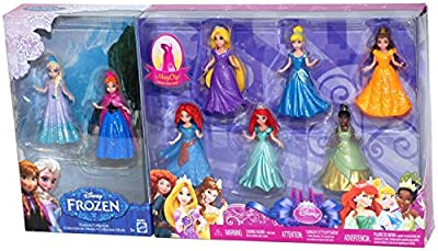 Disney Princess 8-Piece MagiClip Fashion Collection Gift Set - Includes Frozen's Elsa & Anna, Cinderella, Tangled's Rapunzel, Beauty and the Beast's Belle, Little Mermaid's Ariel, Princess and the Frog's Tiana, and Brave's Merida by Disney de Mattel