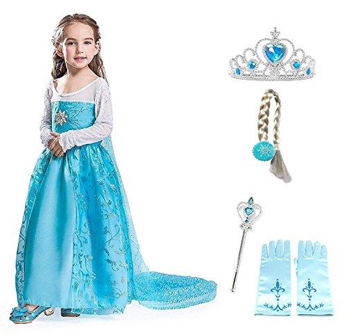 Größe 120 - 6 - 7 Jahre - Kostüm Elsa Blume mit Zubehör - Krone - Zauberstab - Handschuhe - Braid - Mädchen - Blau - Kleid - Karneval - ()