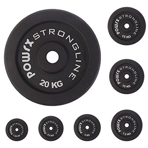 POWRX Hantelscheiben 2er Set Hantel Gewichte Gusseisen 5-40 kg für Kurzhanteln und Langhanteln 30 mm (4 x 2,5 kg)