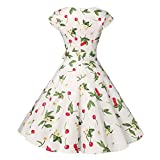 BringBring Damen Vintage 1950er Ärmelloses Neckholder-Kleid Faltenrock Boho Cocktailkleid (L, White)