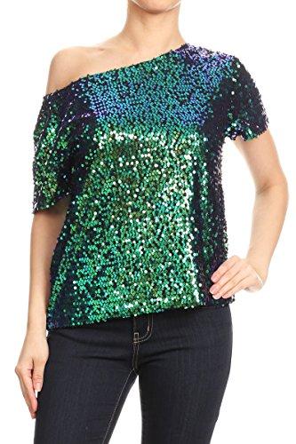 (Anna-Kaci Damen ein Schulter Kurzarm Blingeling Glitzer Pailletten Lose Bluse Batwing T-Shirts Vintage Tops Oberteile)