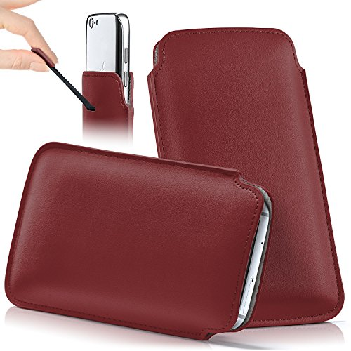 iPhone 6S Plus Hülle Braun Sleeve [OneFlow Slide Cover] Ultra-Slim Schutzhülle Dünn Handyhülle für iPhone 6 Plus / 6S + Plus Case Full Body Handytasche Kunst-Leder Tasche BLAZING-RED