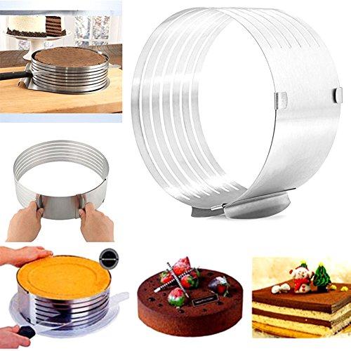 RosewineC Tortenboden-Schneidhilfe Patisserie für Ø 24 und Ø 30 cm, Kuchen-Schneidhilfe für gleichmäßge Tortenböden, flexibel verstellbar, Silber