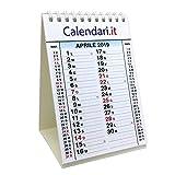 Calendario 2019 da tavolo per ufficio casa e lavoro 10X15 cm con 3 mesi e festività italiane. Ideale per piccoli appunti sulla scrivania.