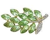 Gnzoe Bijoux, Femme Broche Faux Diamant Leaf Forme De Mariée Mariage Broche Pins la Mariée Pour Mariage Vert