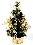 Mini Deko Tanne, gold - geschmückter kleiner Weihnachtsbaum - Schreibtischdeko, Gastro Deko uvm.