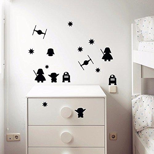 Stay Wars - Pegatinas de pared con diseño de confeti (negro), Yoda, Darth Vadar, Corbata Fighter
