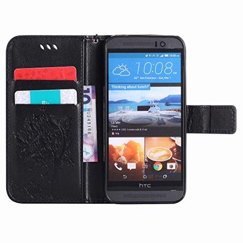 Custodia HTC One M9 / HTC One Hima Cover Case, Ougger Fortunato Foglia Stampa Portafoglio PU Pelle Magnetico Stand Morbido Silicone Flip Bumper Protettivo Gomma Shell Borsa Custodie con Slot per Sched Nero