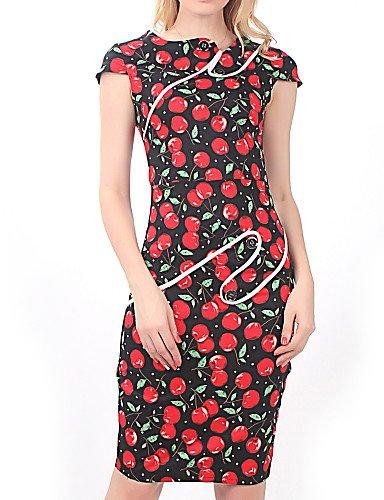 PU&PU Robe Aux femmes Moulante Soirée / Travail , Points Polka / Fleur Asymétrique Mi-long Coton / Spandex / Elastique multi-color-xl