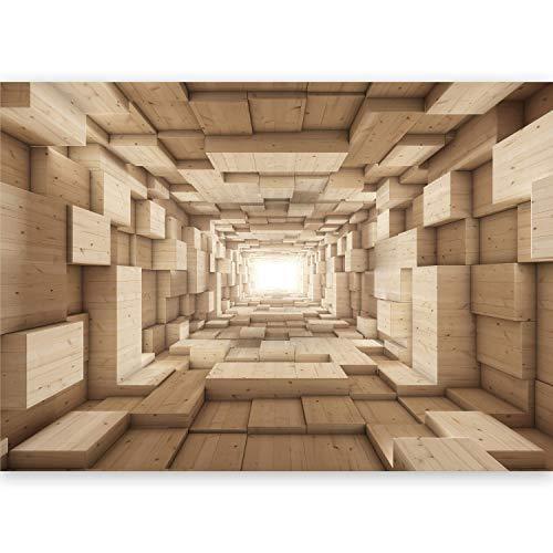*murando – Fototapete 500×280 cm – Vlies Tapete -Moderne Wanddeko – Design Tapete – Abstrakt Tunnel Holz 3D geometrisch a-B-0035-a-b*