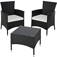 TecTake Poly Rattan Garden Set | 2 Chairs and Small Table with Glass top | Robust Steel Frame - Different Colours - (Black | No. 402862)