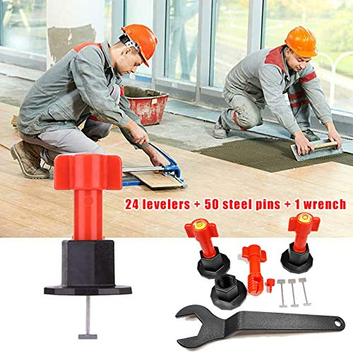 Dastrues 75 Pcs Tile Levelling System Re-usable Tile Levelling SystemTiles Leveling SystemFloor Tile Leveling System Reusable Anti-Lippage Tile Leveling System Locator Tool Ceramic Floor Wall -