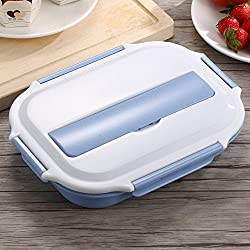 Generic Japanese 304 Stainless Steel Kids Bento Box Wheat Straw Microwave Lunch Boxs Food Container Portable For Picnic Camping