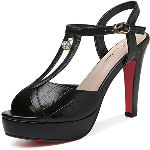 Heart&M PU estate delle donne di cuoio T-cinghie strass 10.5CM High Heels Peep-toe One sandali fibbia Black