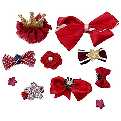 prelikes 10 Pcs Girl Bowknot Flower Hair Clip Multi-Style Bow Hairpin Ribbon Xmas Gift : everything £5 (or less!)