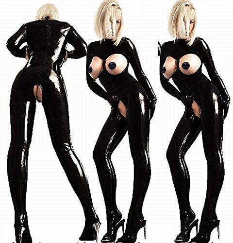Großes Western Miss Breast Körper Kleidung, Nachtclub Bühne Aufführungen Queen Sogar Körper Ausgesetzt Milch Offene Datei Lack Leder Kleidung Sexy Unterwäsche,Schwarz,XL (Red Fat Suit Kostüm)