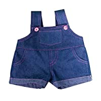 Denim Overalls Outfit with Pink Stitching for a 16-inch teddy bear.