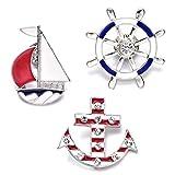 Onnea Damen Mädchen Nette Emaille Segelschiff Anker Ruder Broschen Revers Stifte Badge Set für Kleidung Beutel Dekor (Meer Urlaub Serie Pin-Set)