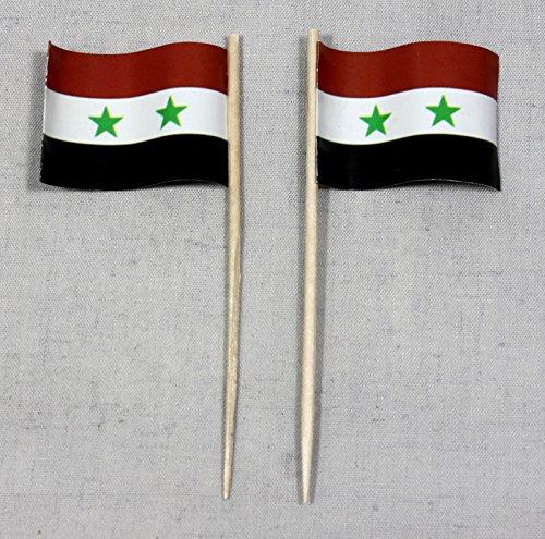 Party-Picker Flagge Syrien Papierfähnchen in Profiqualität 50 Stück Beutel Offsetdruck Riesenauswahl aus eigener Herstellung