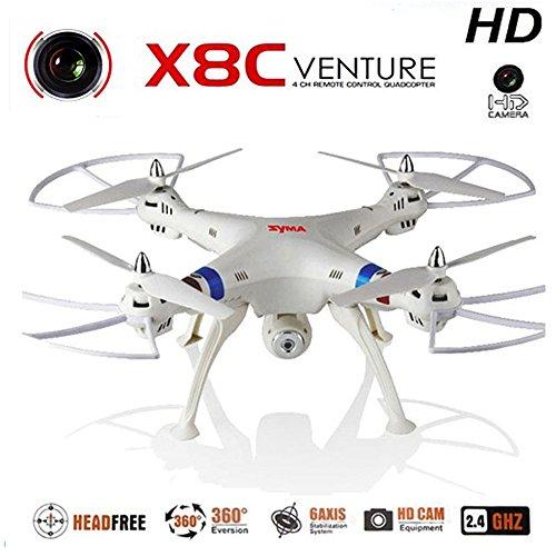 Syma X8C Headless Quadcopter 4CH 2.4GHz 6 Achsen 3D Drohne 360 grad mit 2MP HD Kamera Led Licht Drohne FPV Flugzeit 10-12 Minuten für Android iPhone IOS Handly(X8C-weiß)