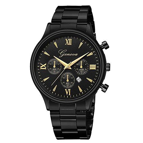 IG-Invictus Luxusuhr Mode Edelstahl Uhr Datum männer Quarz Analog Armbanduhr Genf Net Gürtel Uhr 648 Stahl Gürtel Alle Schwarz Gold Nagel