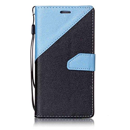 MoreChioce kompatibel mit Galaxy S6 Edge Lederhülle,Bunt Hülle kompatibel mit Galaxy S6 Edge,Bookstyle Wallet Klappbar Stand Flip Ledertasche Magnetverschluß Schwarz + Himmel Blau,EINWEG -