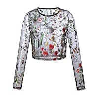 Women Shirts Lace Mesh Floral Embroidery Transparent Long Sleeve T-shirts