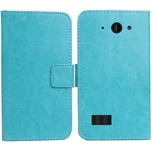 Gukas PU Leder Tasche Hülle Für Archos Saphir 50X 5 Handy Flip Design Brieftasche mit Karten Slots Schutz Protektiv Case Cover Etui Skin (Farbe: Blau)