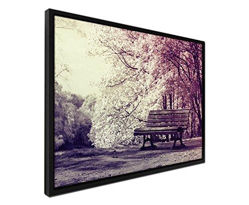 105-x-75-cm-quadro-colore-malva-su-tela-inkusive-ombra-fugen-cornice-nero-fioritura-alberi-bank