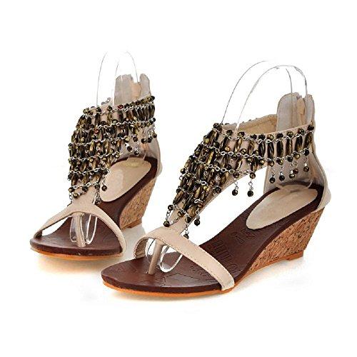 Bdawin Vintage Femme Sandales Talons Compensé Bohème Multilayer Perlée Clip Toe Chaussures de Plage Abricot