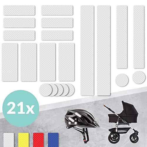Tampen 21x Reflektor Sticker (Set) · hohe Sichtbarkeit im Herbst und Winter · Reflektoren für Kinderwagen, Fahrrad, Helm uvm. · wasserfeste Leuchtaufkleber · Weiß