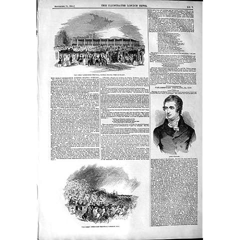 Impresión Antigua del Pabellón 1844 de América del Festival de Señor Stanley Berkshire