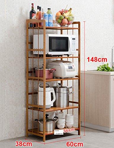 Preisvergleich Produktbild HWF Küchenwagen 5 Layer Küche Regalboden Lagerung Rack Mikrowelle Ofen Rack Küche Zubehör Bambus ( Farbe : 60 )