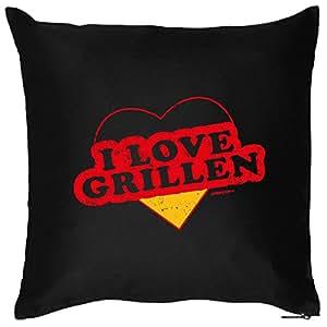 GRILLER Deko Kissen ::: I love Grillen ::: Schwarz