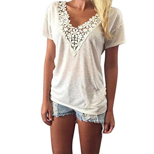 feiXIANG mode frauen Damen kurze ärmel bluse im tank tops t - shirt Lace short sleeved T-shirt (XXXL, Weiß) (Batik Silhouette)